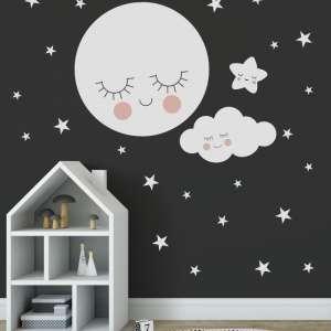 dječje naljepnice za zid - Mjesec oblak i zvjezdice