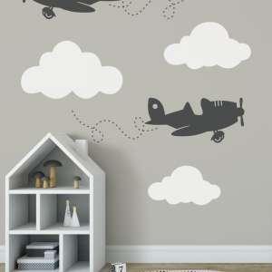 zidne naljepnice za dječju sobu avioni i oblaci