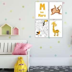 Dekoracije_za_dečiju sobu_majmunčić_i_žirafa