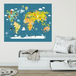 Dječja karta svijeta plava