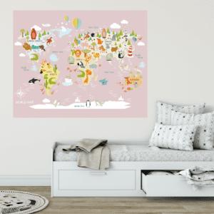Dječja karta svijeta sa životinjama roza
