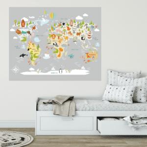 Dječja karta svijeta sa životinjama