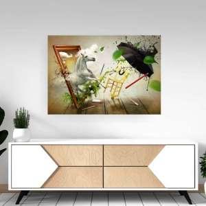 Slika na platnu Abstrakt Konj i Kišobran