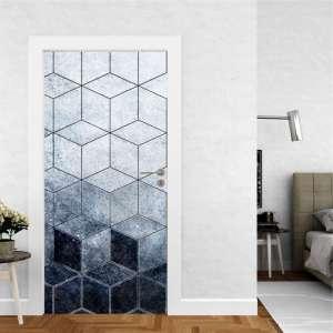 Abstract Blue Hex - Naljepnica za Vrata