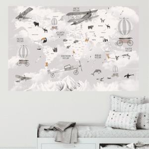 Karta Svijeta Winter Gray